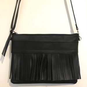 New MaeDay HQ Black Leather Fringe Clutch